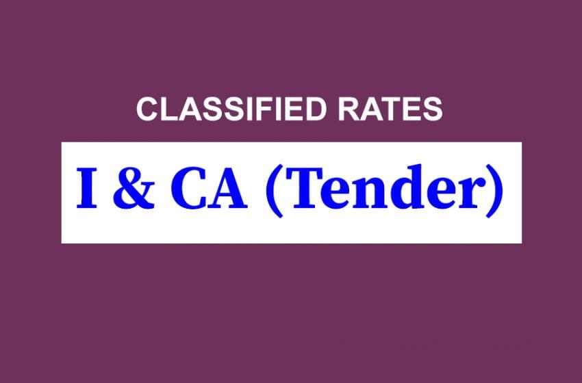 I&CA (Tender) Rate Card